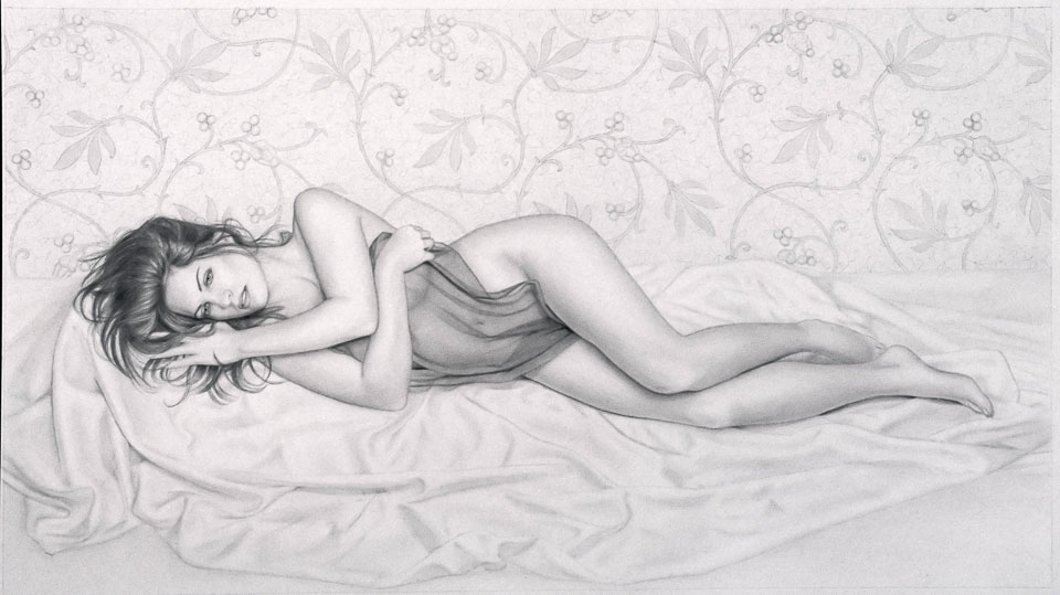 Lisa-95,1995, charcoal on paper, 46 x 30 in