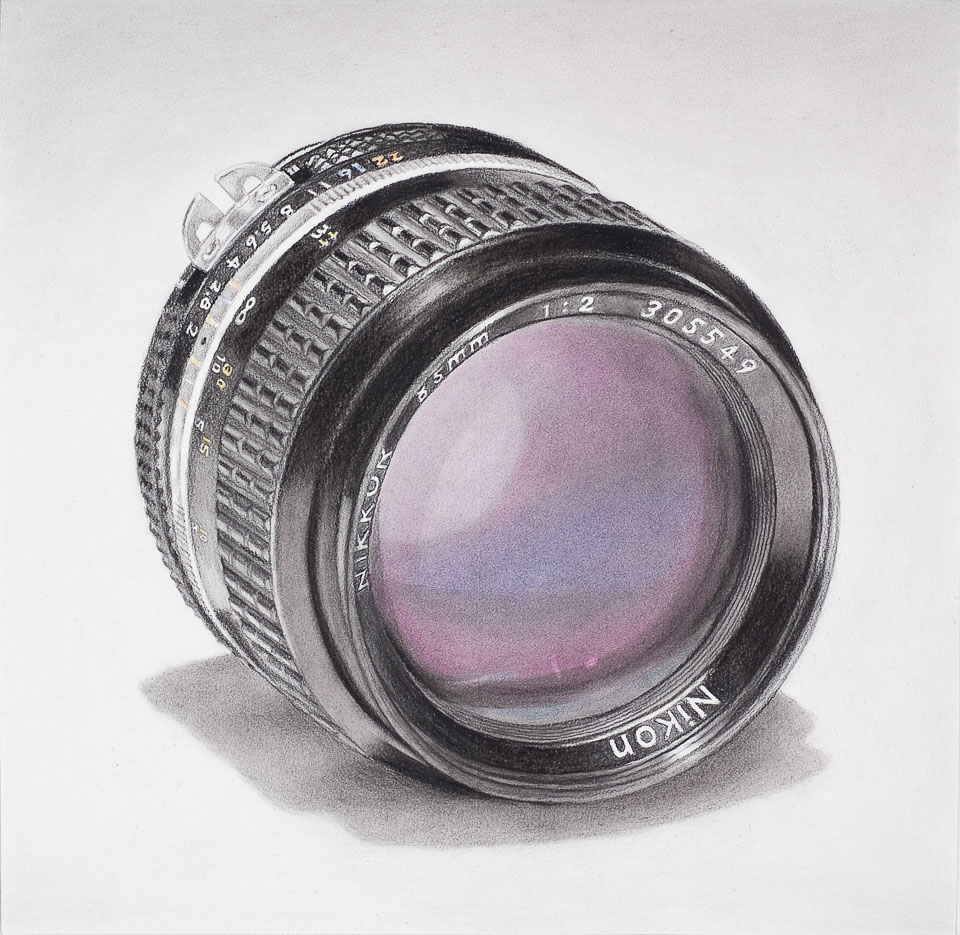 Nikon Lens, 2009, charcoal, pastel on paper, 20 x 20 in