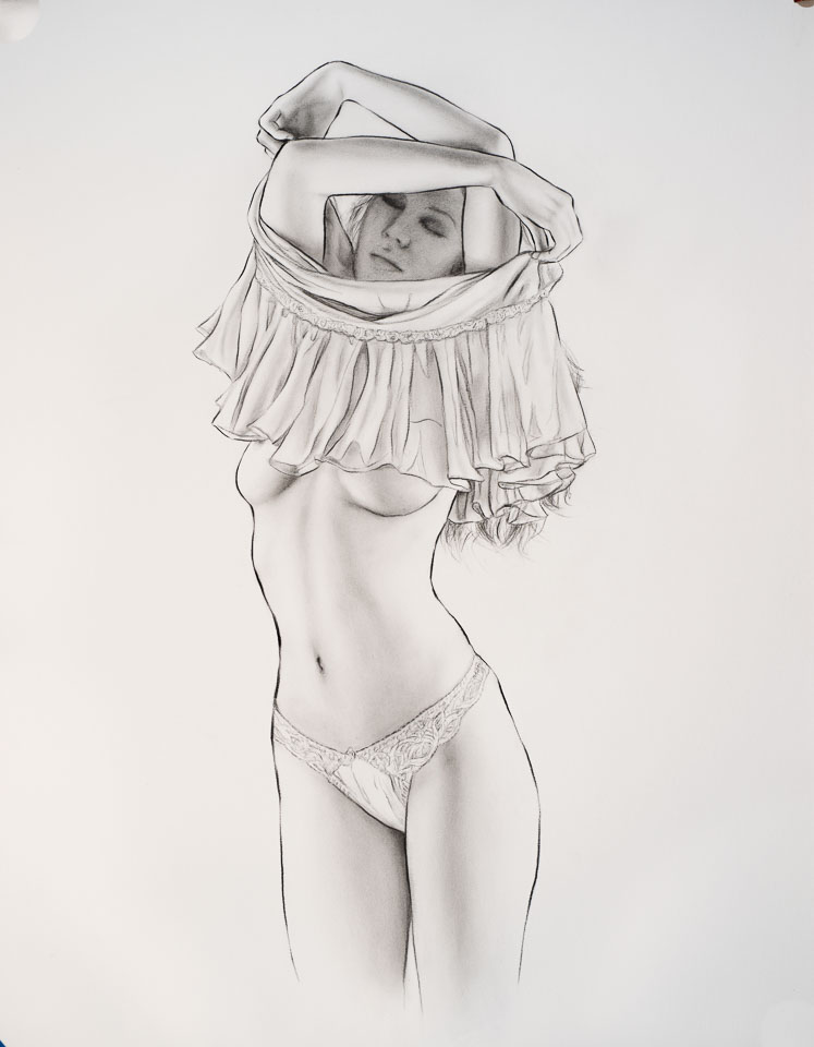 Study-3, 2016, charcoal on paper, 24 x 18 in
