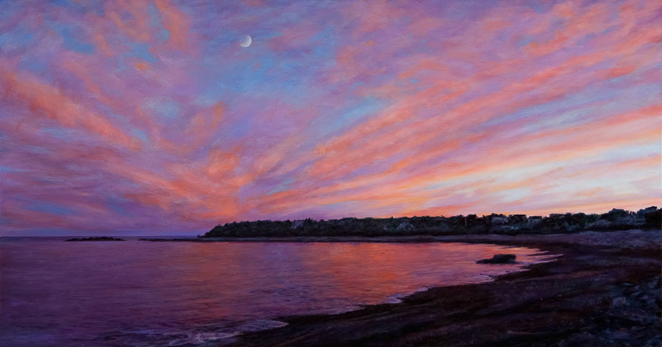 Cove Sunset, 2011, oil on panel, 10 x 19 in